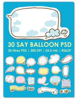 Product picture Say Balloon psd templates